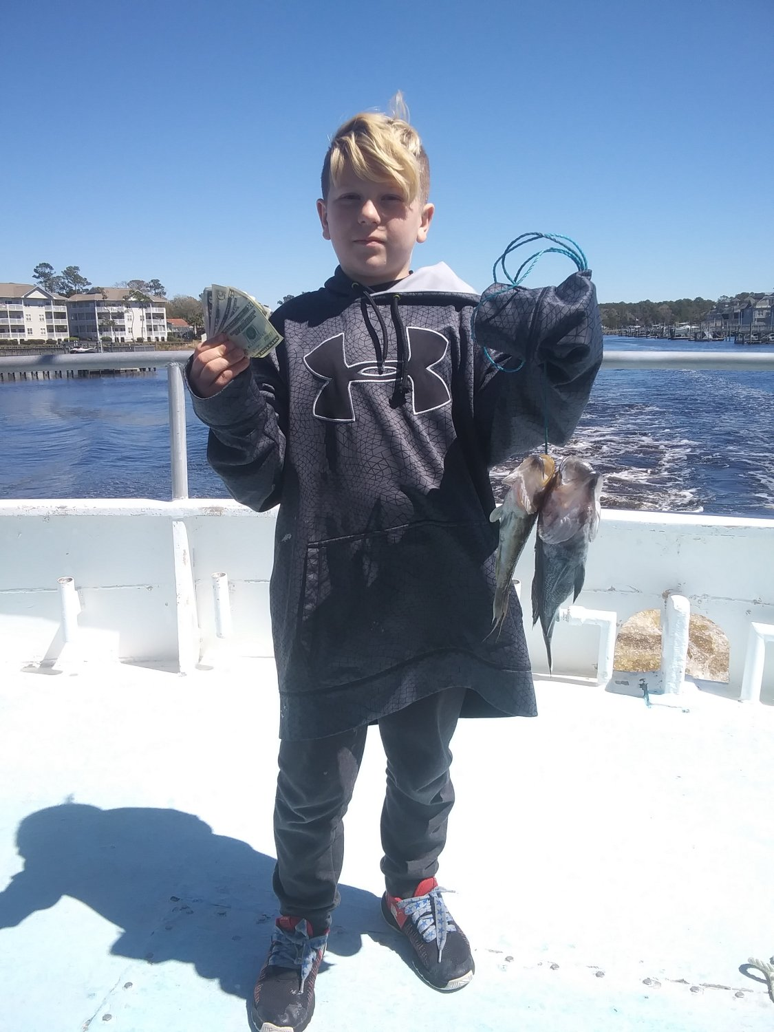 Half Day Fish Pool Winner - 10 year old Bradley F.  from Wilmington, NC